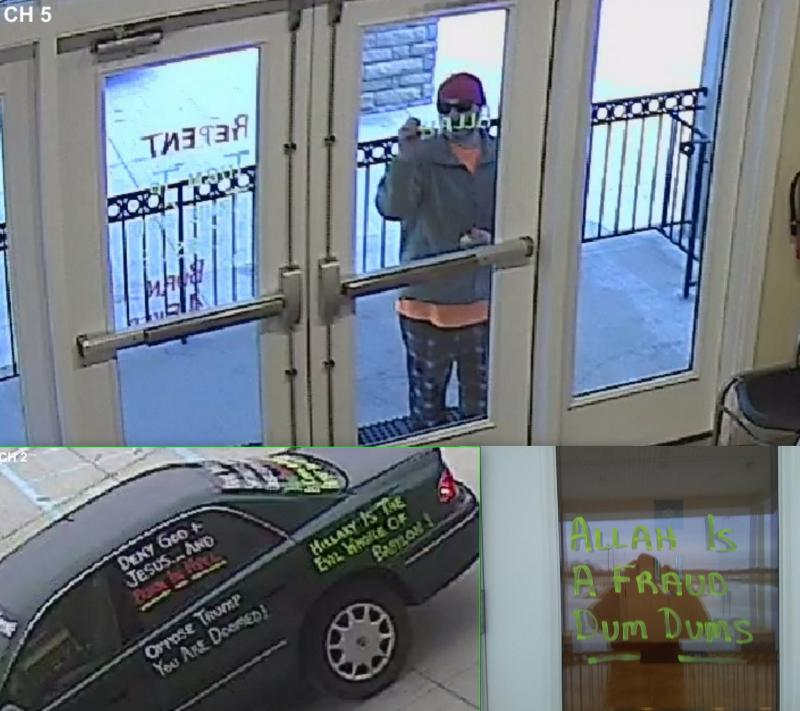 Surveillance cameras captured the alleged vandal's car and the vandalism as it happened.