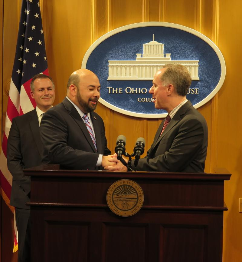 Ohio Speaker Cliff Rosenberger (R-Clarksville, left) shakes hands with Wisconsin Speaker Robin Vos