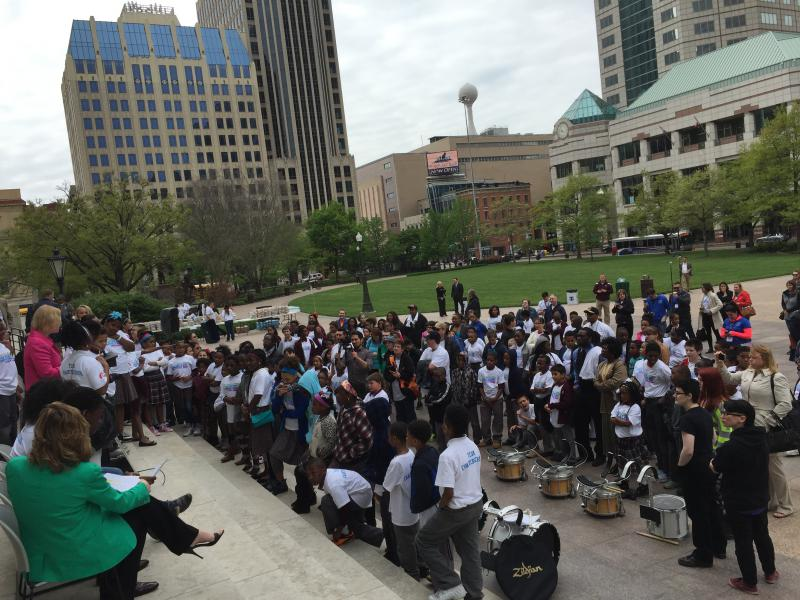 Supporters of school choice rally at the Statehouse in May 2016.