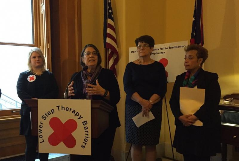 """(from left to right) Shannon Trotter, Ohio Dermatological Association president; Rep. Nickie Antonio (D-Lakewood); Sen. Peggy Lehner (R-Kettering); Sen. Charleta Tavares (D-Columbus) show their support for bills to limit the use of """"step therapy."""""""