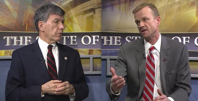 """Tax Commissioner Joe Testa (left) and Kent Scarrett from the Ohio Municipal League, on """"The State of Ohio""""."""