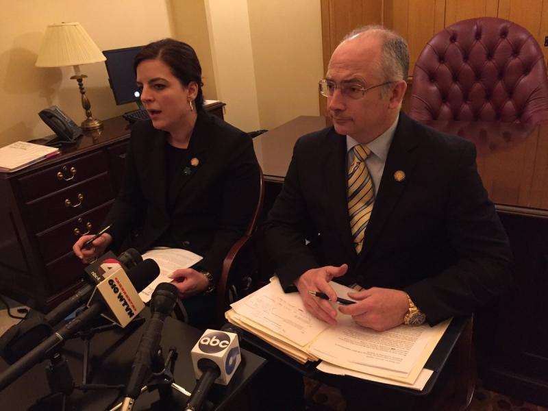 Rep. Brigid Kelly (D-Cincinnati) and Rep. Kent Smith (D-Euclid) in the Ohio Statehouse introducing their bill to require Gov. John Kasich spend 40 hours with school employees.