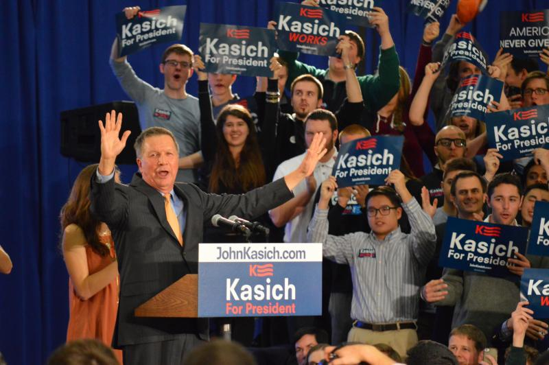 John Kasich celebrates his win at his post-Ohio primary party in suburban Cleveland on March 15, 2016.