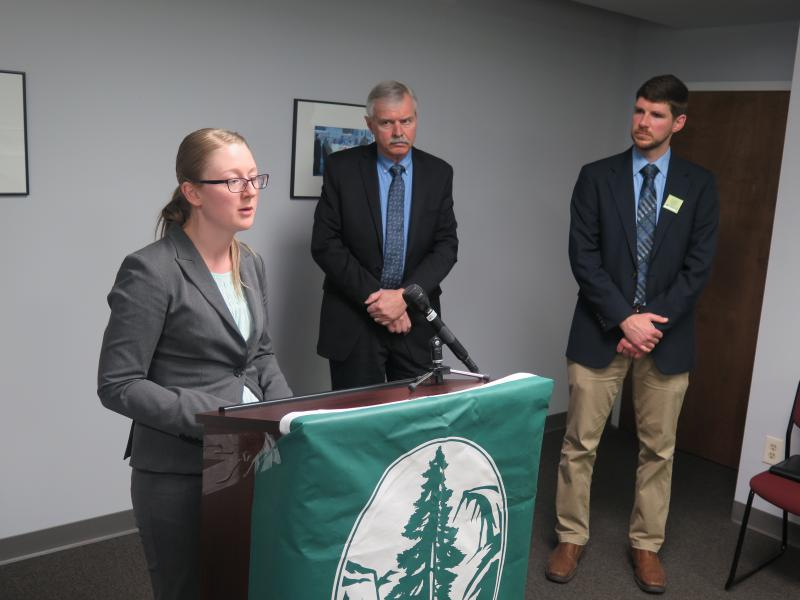 The Sierra Club Ohio Chapter's Kristen Kubitza takes questions alongside Al Frasz, owner of Dovetail Solar and Willie Overmann, Energy Manager for the city of Columbus.