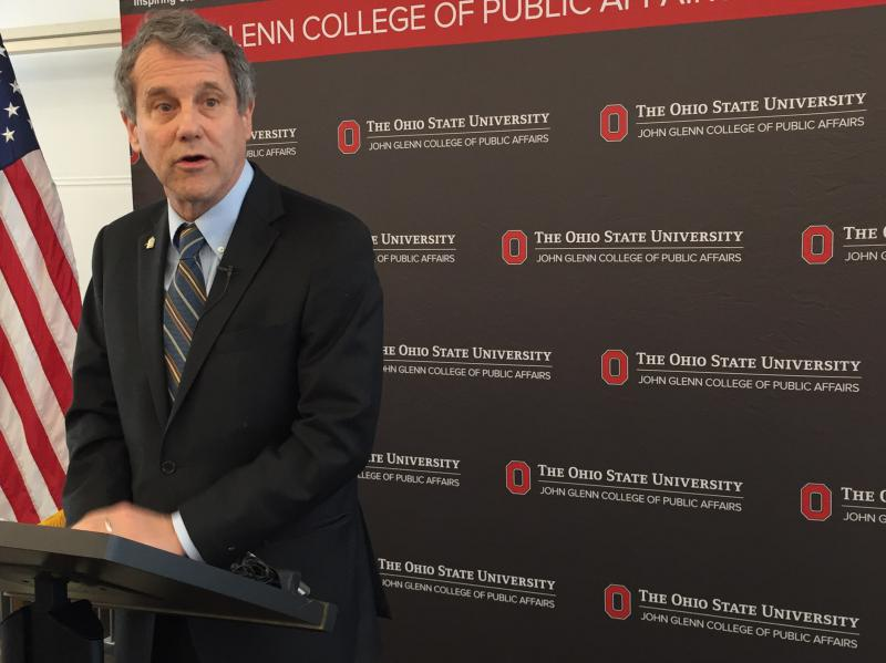 U.S. Senator Sherrod Brown (D-Ohio) delivers remarks at John Glenn School of Public Affairs at The Ohio State University.