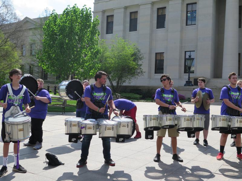 Drummers who are part of rally at Ohio Statehouse