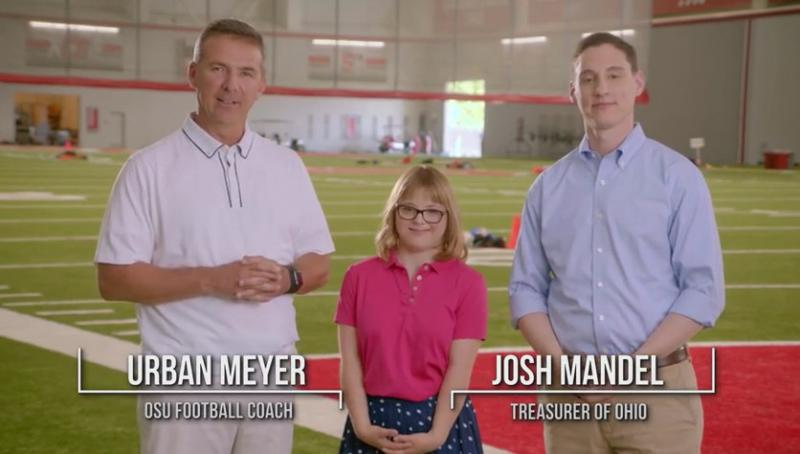 A screenshot of the STABLE public service announcement ad featuring OSU football coach Urban Meyer; Anne Gerhardt, the first person to open up a STABLE account in the nation; and state treasurer Josh Mandel.