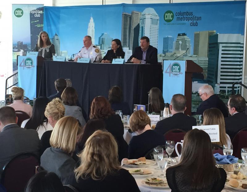 Teresa Long (left), Columbus Health Commissioner, at the Columbus Metropolitan Club forum on opioid abuse.