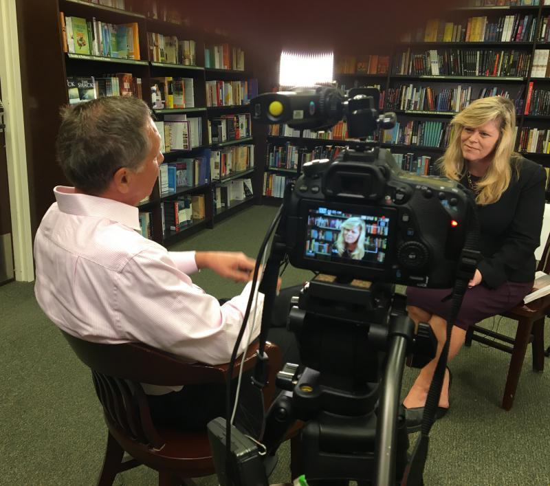 Gov. John Kasich speaks with Karen Kasler at the Barnes & Noble in Westlake on his book tour.