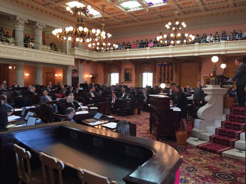 Ohio House gathers in session to pass the budget bill in the Ohio Statehouse.