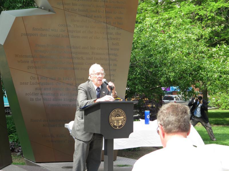 Holocaust Liberator Richard Dutro speaks at Ohio Statehouse