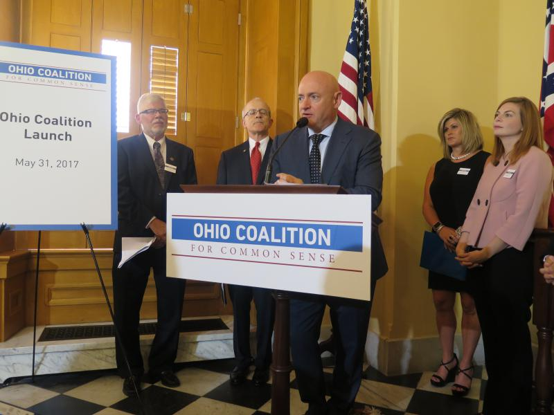 Astronaut and gun control advocate Mark Kelly joined members of the Ohio Coalition for Common Sense for the start of their campaign.
