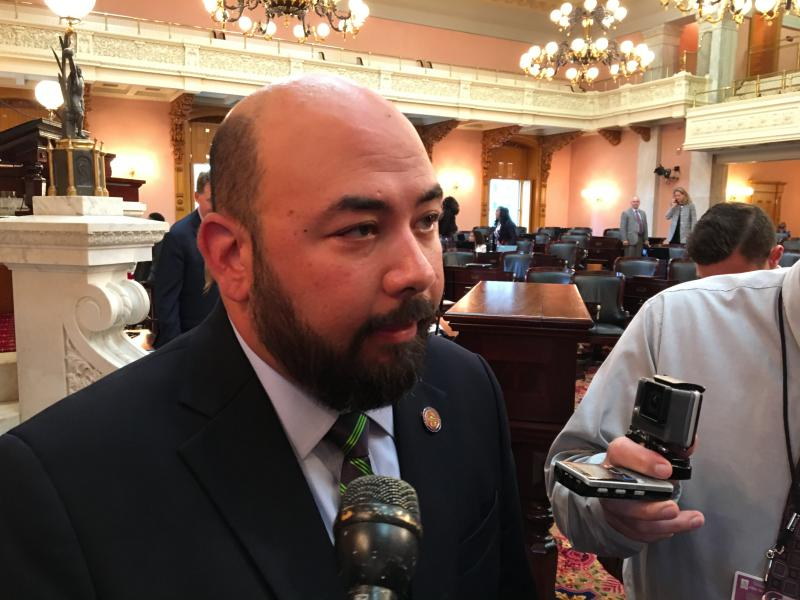 House Speaker Cliff Rosenberger (R-Clarksville) talks to reporters after session.