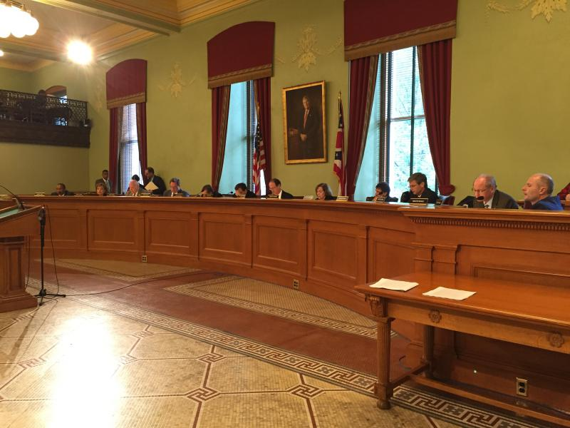Senate Finance Committee discusses long list of amendments proposed for the state budget bill in the Ohio Statehouse.