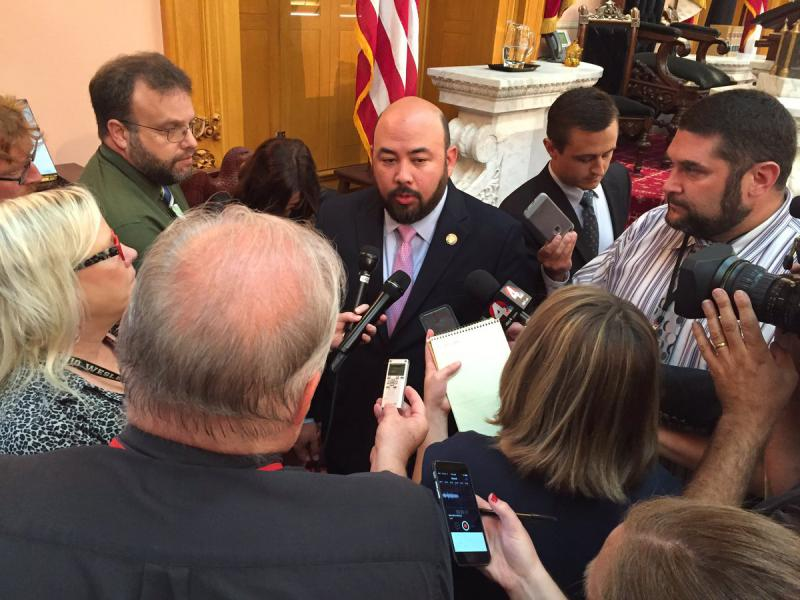 House Speaker Rosenberger talks with reporters after session