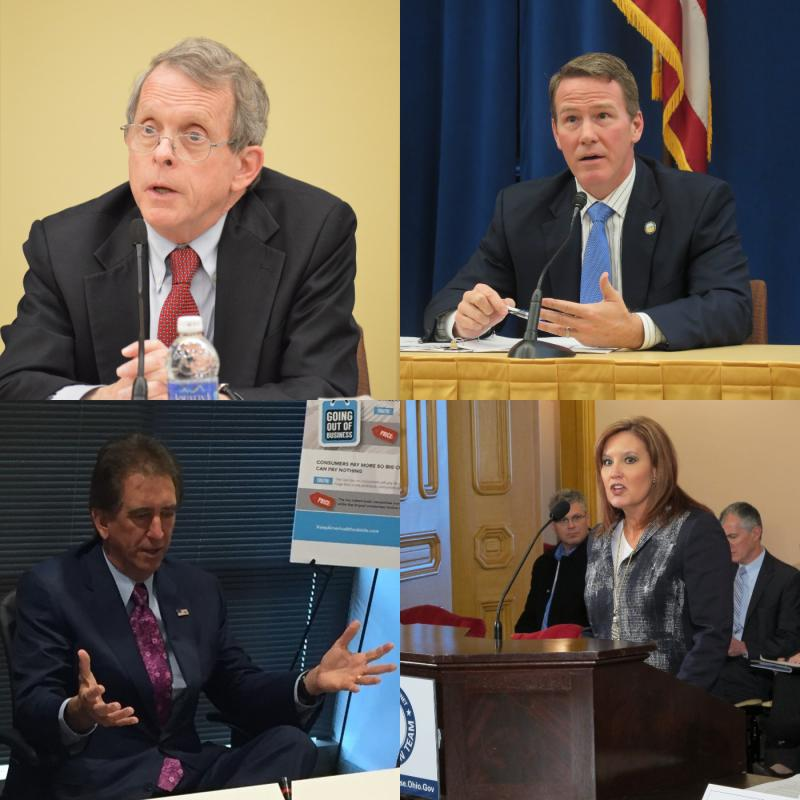 (clockwise from top left in alphabetical order) Ohio GOP gubernatorial candidates Mike DeWine (Ohio Attorney General), Jon Husted (Ohio Secretary of State), Jim Renacci (U.S. Representative), Mary Taylor (Lt. Governor)