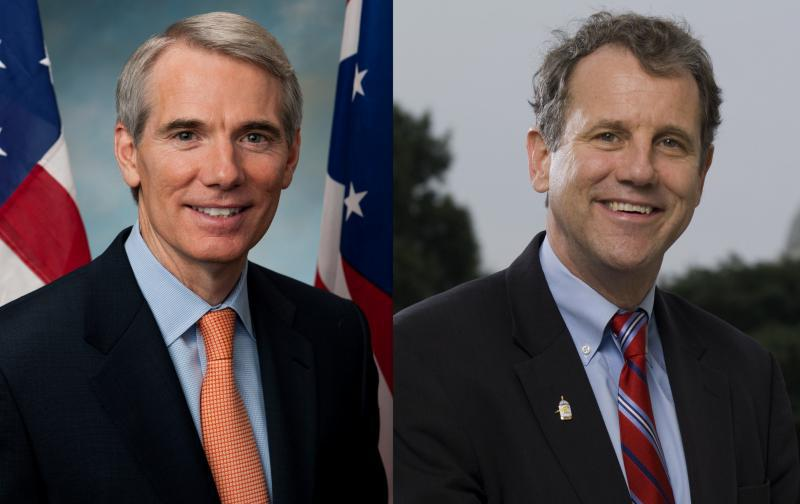 Sen Rob Portman (L) and Sen Sherrod Brown (R)
