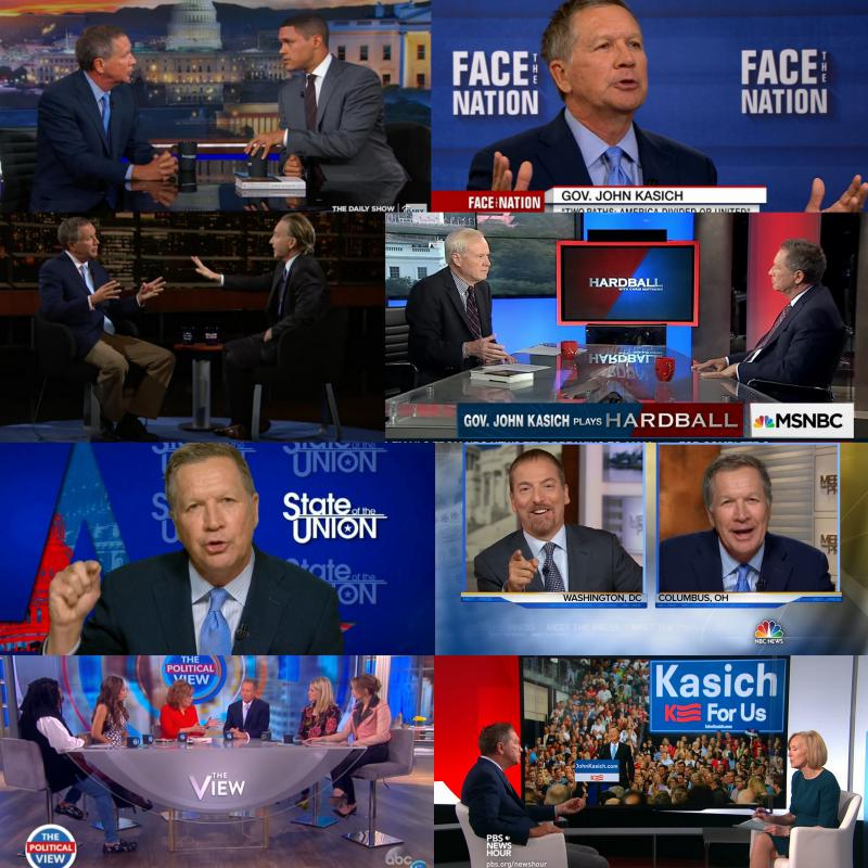 Gov. John Kasich has appeared on a variety of national TV shows in 2017.