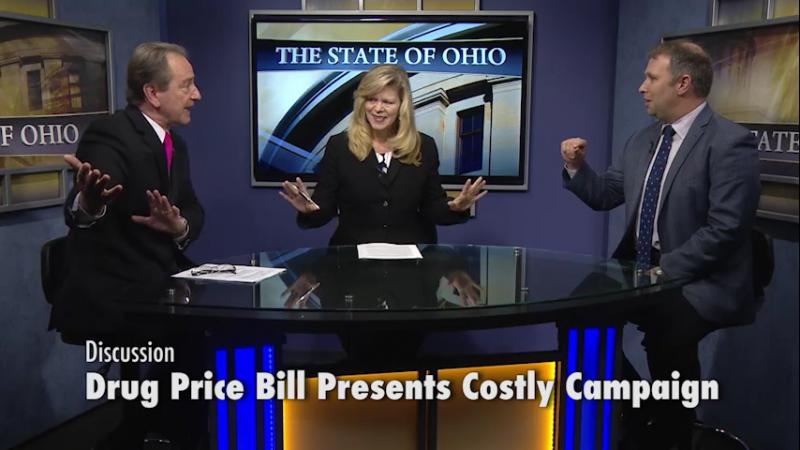 Dale Butland of Ohioans Against the Deceptive Rx Ballot Issue (left) and Matt Borges with Ohio Taxpayers for Lower Drug Prices discuss Issue 2.