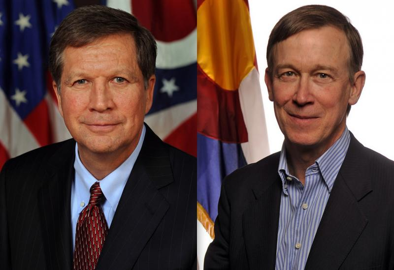 L-R Ohio Governor John Kasich and Colorado Governor John Hickenlooper