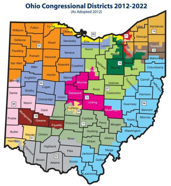 Ohio's map of Congressional districts features 12 districts that elections have shown are solidly Republican, and 4 districts in which Democrats have been overwhelmingly elected.