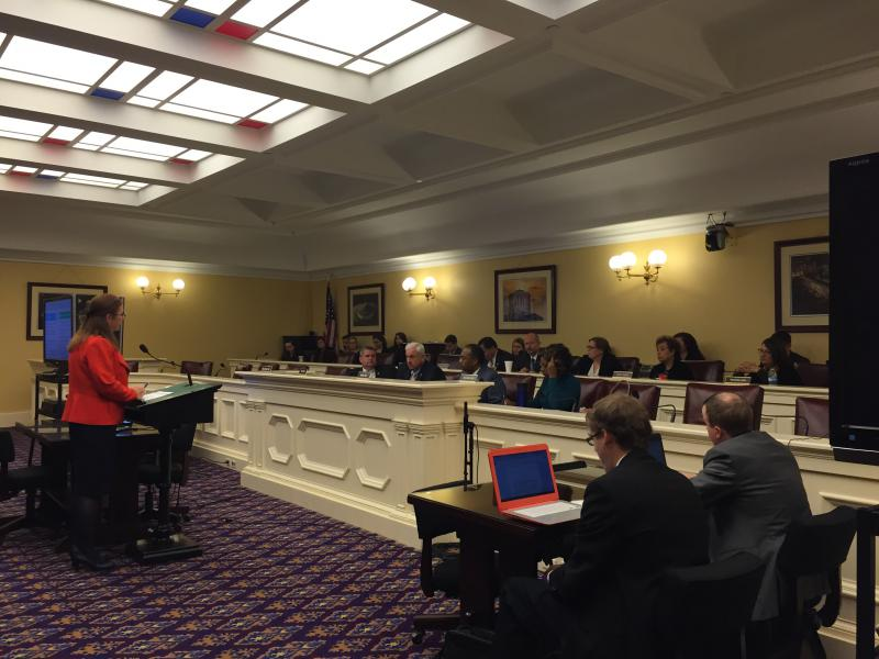 Ohio Medicaid Director Barbara Sears testifies in front of the Joint Medicaid Oversight Committee.
