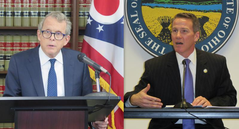 Attorney General Mike DeWine (left) and Secretary of State Jon Husted