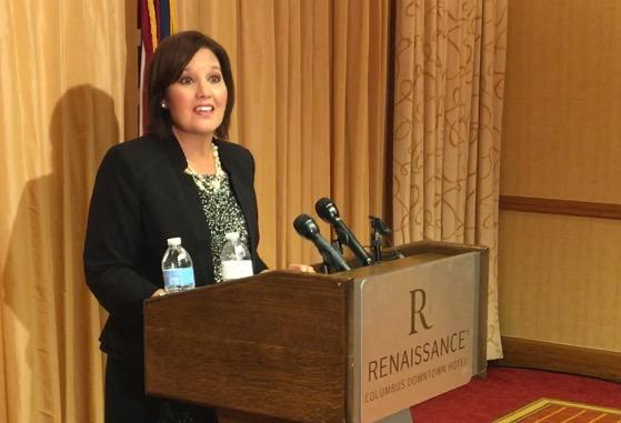 Republican Gubernatorial candidate and Lt. Gov. Mary Taylor announces that she is staying in the race in response to Mike DeWine/Jon Husted team up.