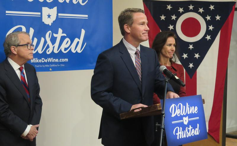 Mike DeWine and Jon Husted announce their ticket team up during an event in Columbus shortly after making it official earlier in the day in Dayton.
