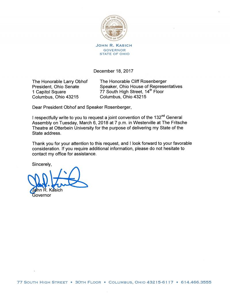 Gov. John Kasich's letter to the General Assembly, requesting their approval for him to deliver his State of the State speech at Otterbein University in Westerville on March 6.