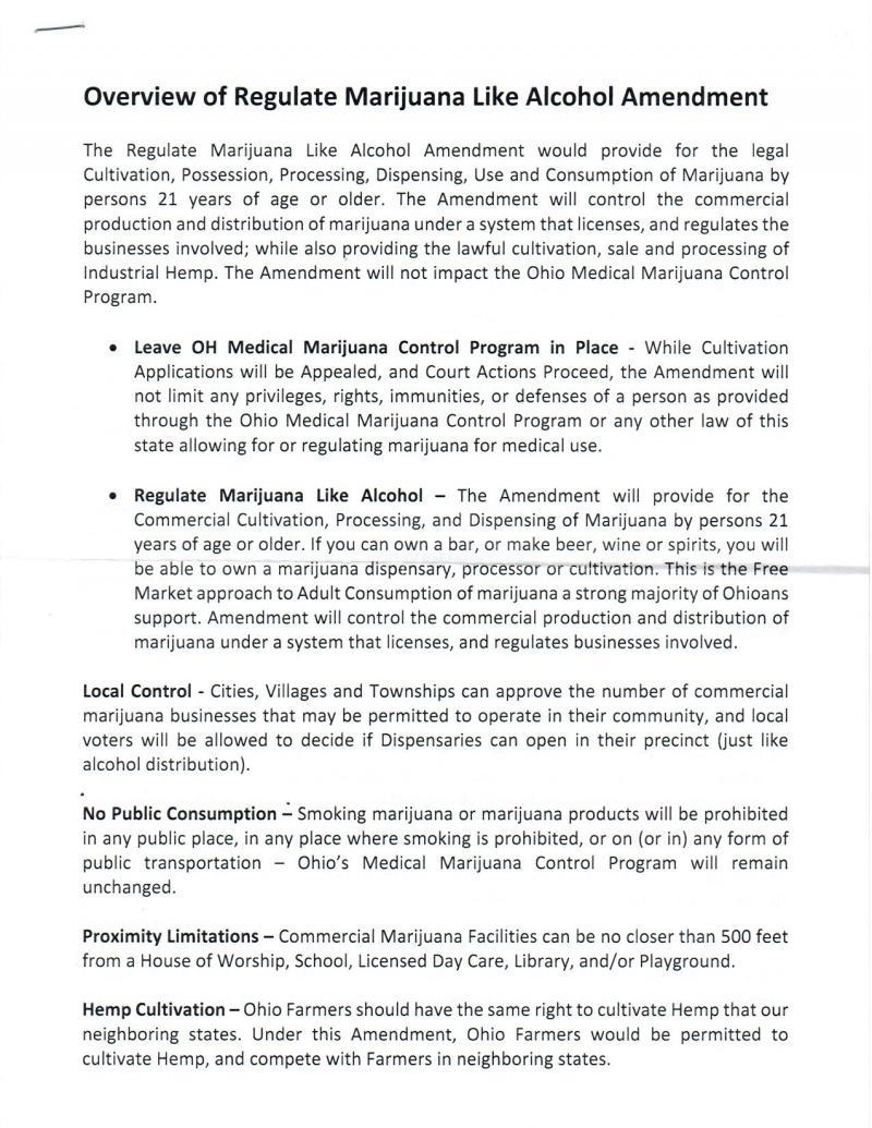 First page of medical marijuana plan