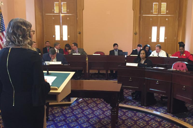 Niki Clum testifying before the House Criminal Justice committee in the Ohio Statehouse.