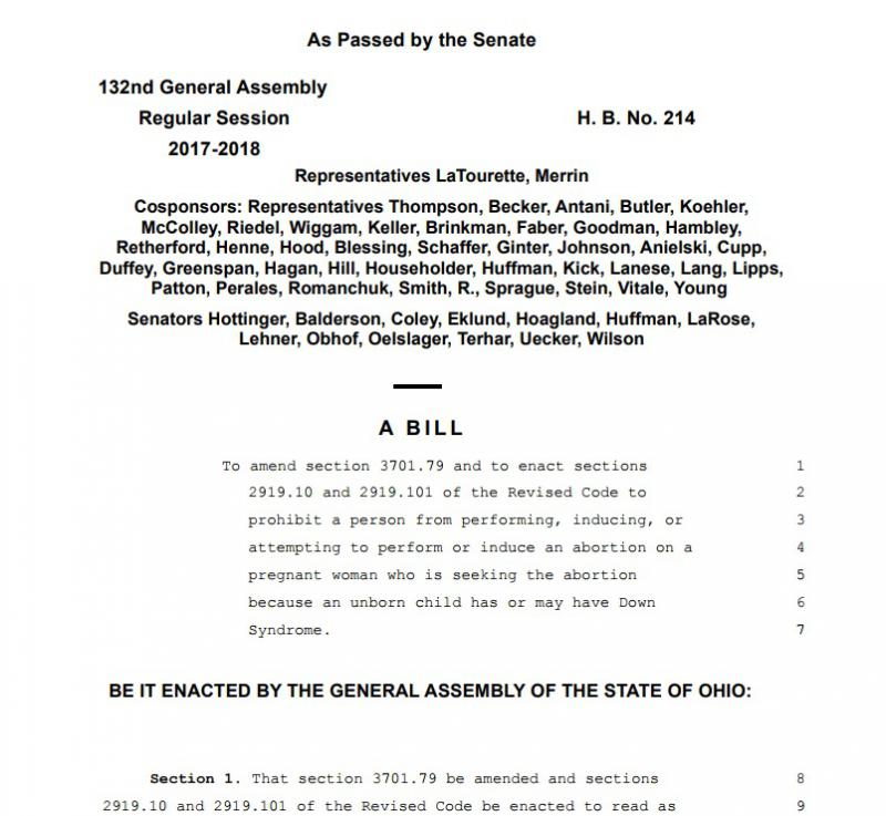 Front page of Down Syndrome Abortion bill