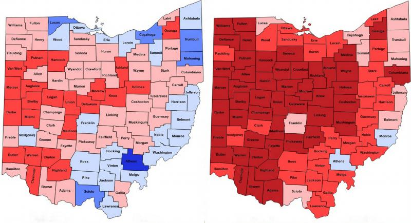 Maps of results from the 2010 (left) and 2014 elections for governor