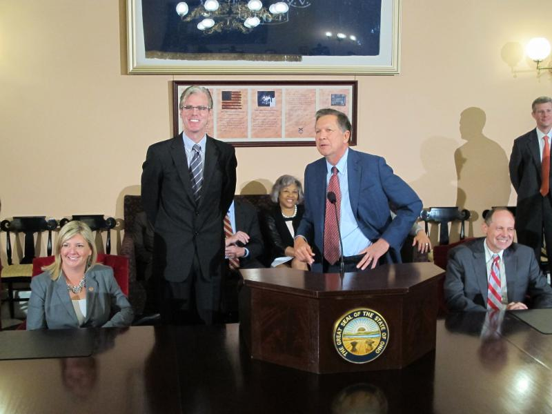 Paul Misener, Amazon Vice President for Global Global Public Policy and VP of Global Innovation Policy & Communication, appeared with Gov. John Kasich at a Statehouse news conference in May 2015.