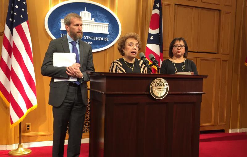 Sen. Charleta Tavares (D-Columbus) discusses bill to lower prescription drug prices.