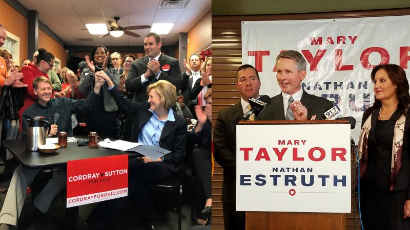 Richard Cordray and Betty Sutton make their announcement in Akron, a few hours before Mary Taylor and Nathan Estruth made theirs in Cincinnati.