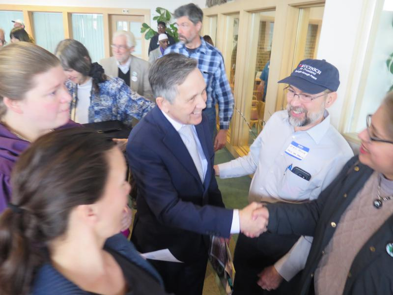 Dennis Kucinich shakes hands after an event at a Columbus church in April.
