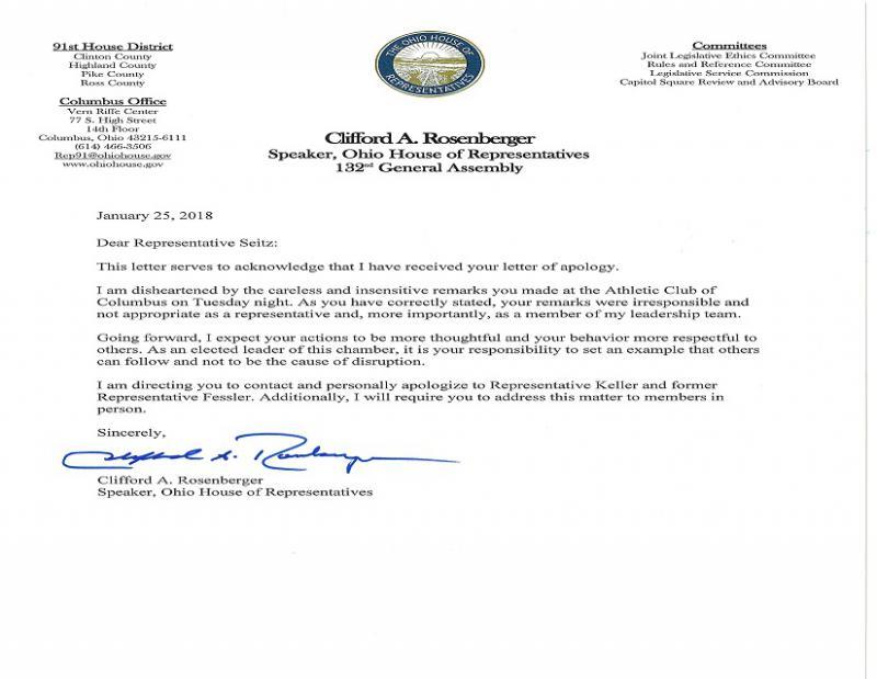 Letter from Speaker Cliff Rosenberger