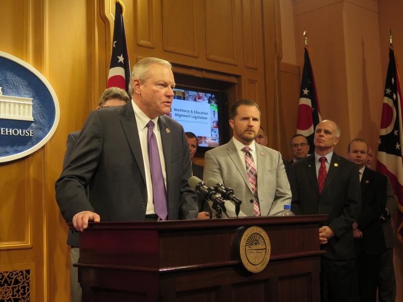 Rep. Bill Reineke (R-Tiffin) backed by many of the House GOP's top leaders, rolls out plan that would overhaul the state's education system and give more power to the governor.