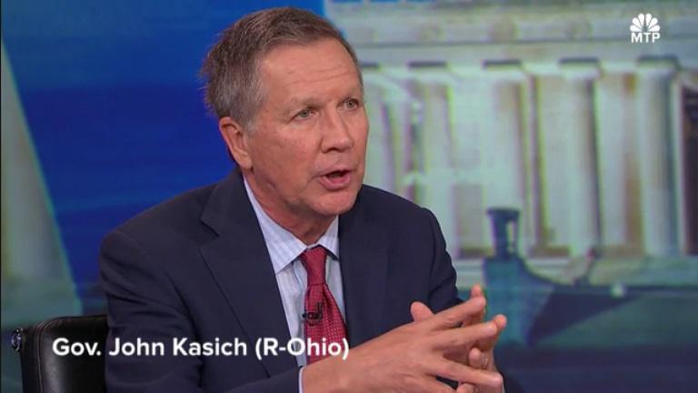 "Gov. John Kasich appeared on NBC's ""Meet the Press Daily"" on February 23."
