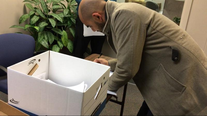 Jon Heavey's campaign delivers box of signatures to Ohio Secretary of State's office before the filing deadline on February 7.