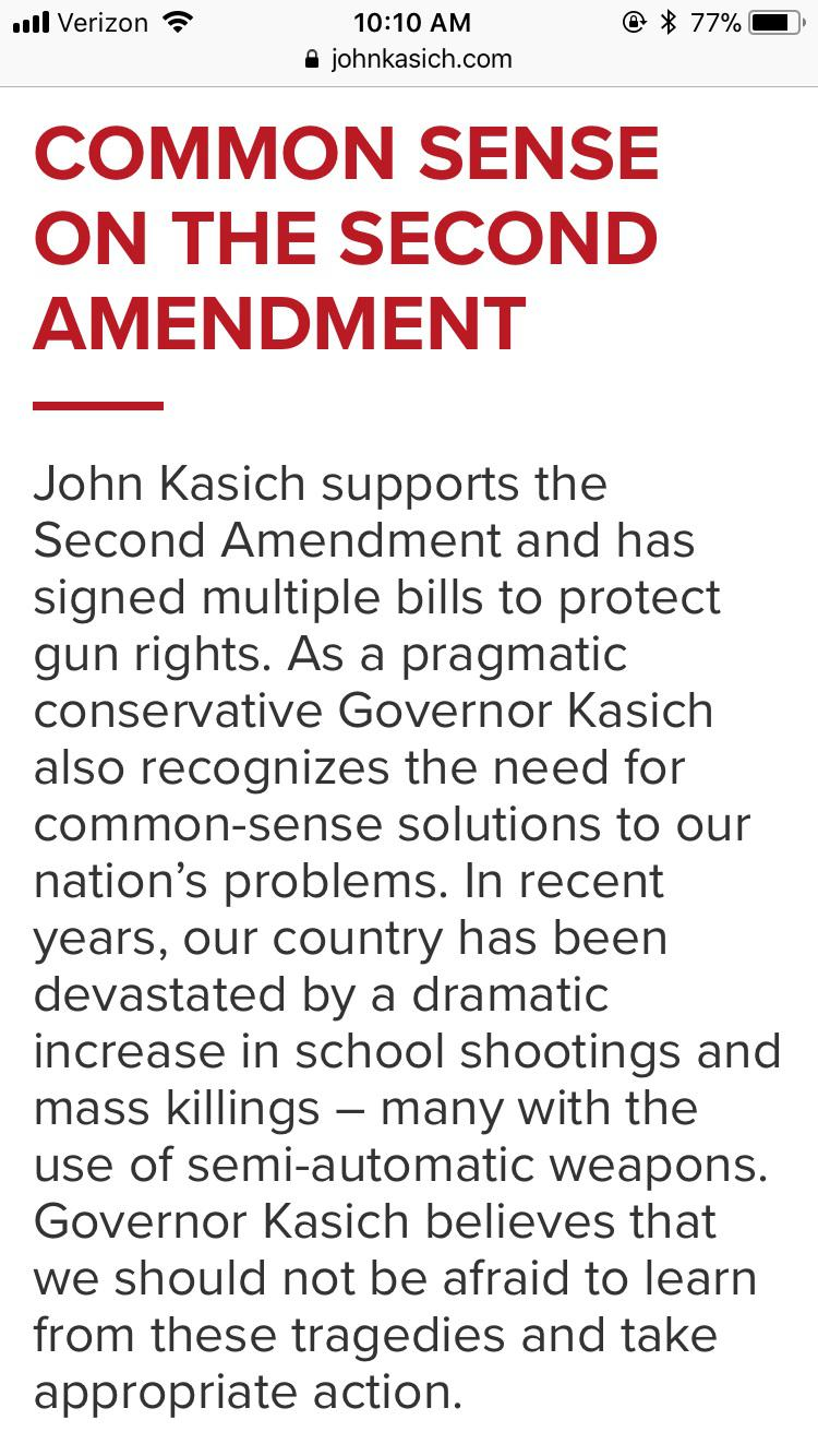 Screenshots of John Kasich's website before and after he changed the Second Amendment section of his campaign website.