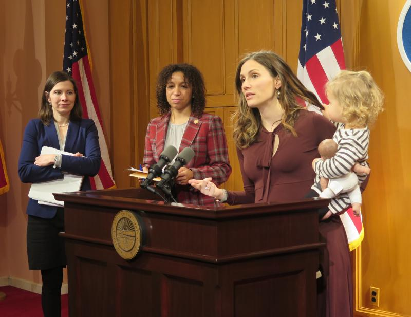 (left to right) Rep. Kristin Boggs (D-Columbus); Rep. Janine Boyd (D-Cleveland Heights); Elizabeth Brown, executive director, Ohio Women's Public Policy Network