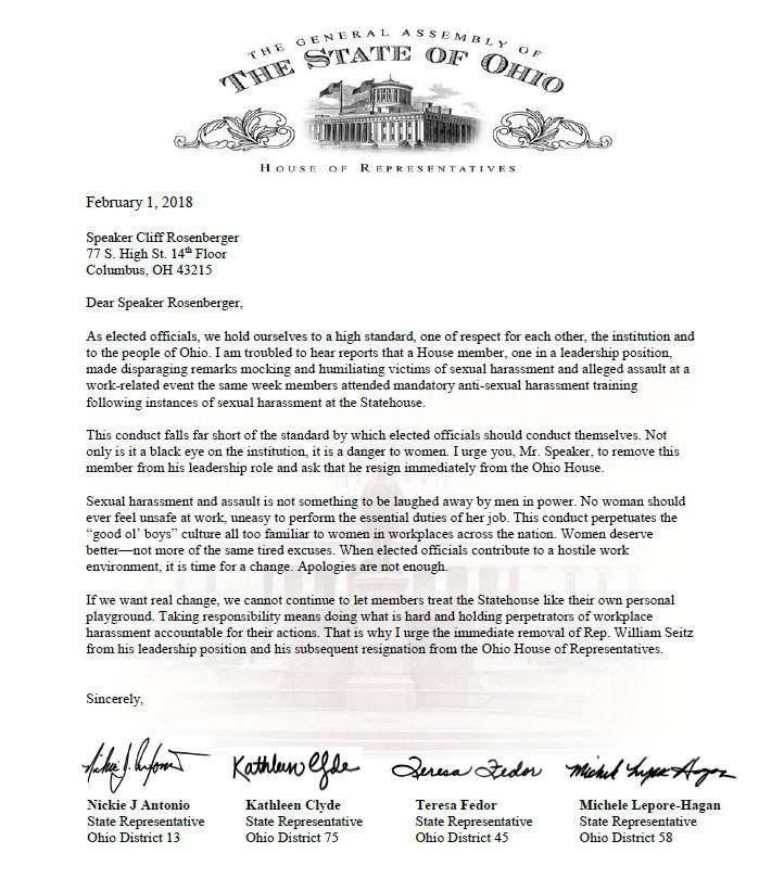 Copy of letter to Speaker Rosenberger