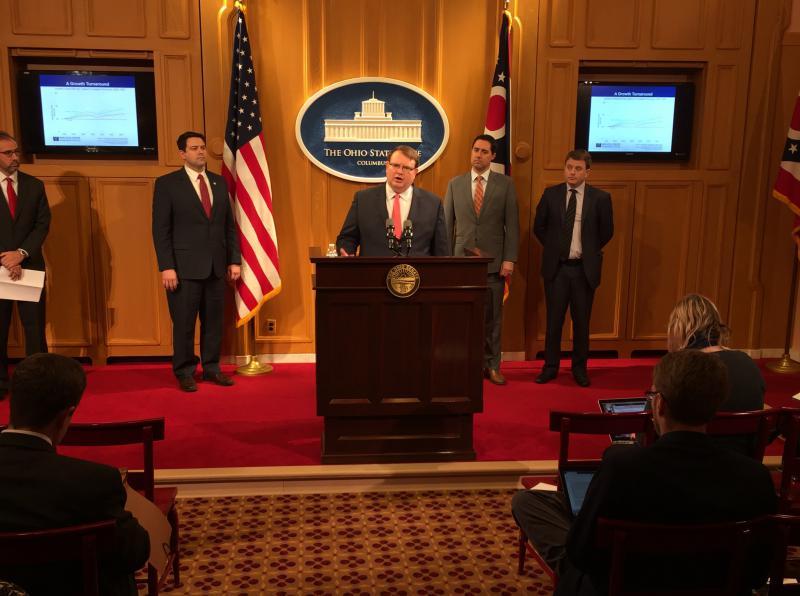 Senate President Larry Obhof (R-Medina) in the Harding Press Room of the Ohio Statehouse.