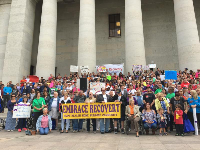 The annual Rally for Recovery at the Statehouse typically brings out hundreds from around the state.
