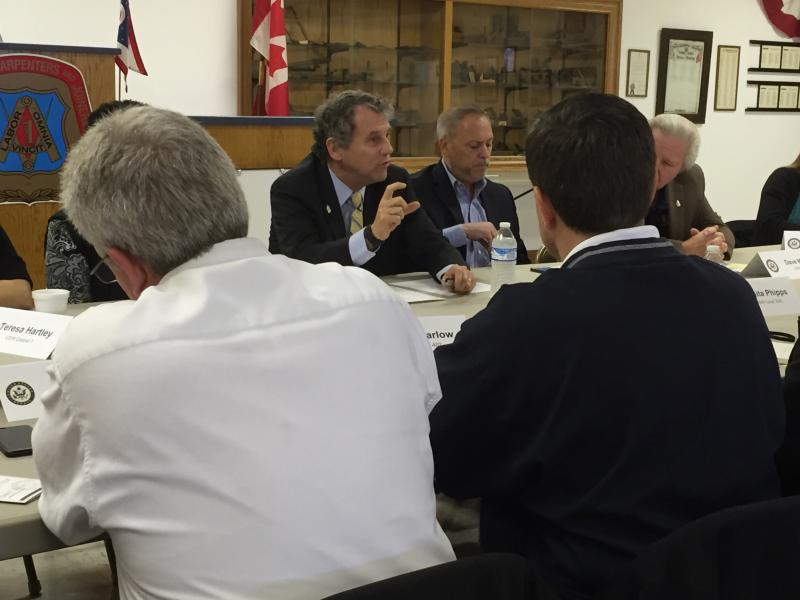 U.S. Sen. Sherrod Brown (D-Ohio) talks to labor leaders in Columbus.