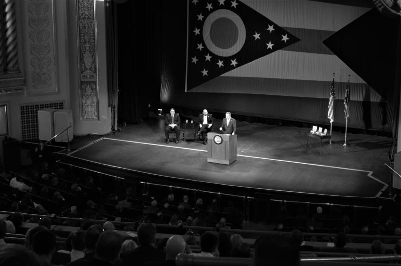 Gov. John Kasich delivers his State of the State address in Sandusky, April 2017.