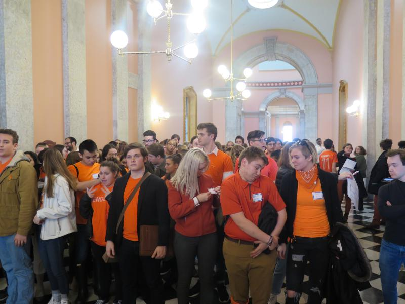 Students gather outside Ohio Senate chambers